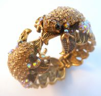 Chunky Rhinestone Studded Frog Design Statement Bangle.